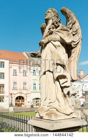 Angel statue of  Plaque column on Main street in Kosice, Slovakia