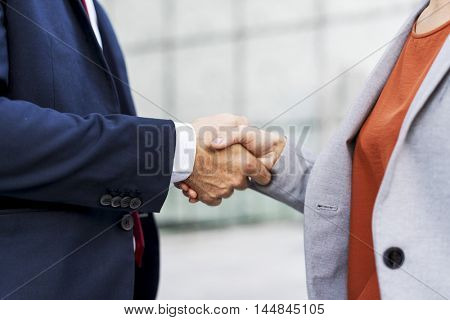 Handshake Corporate Partnership Office Worker Concept