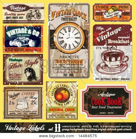 Vintage Labels-Auflistung neun Design-Elemente mit original Antikstil-set 11