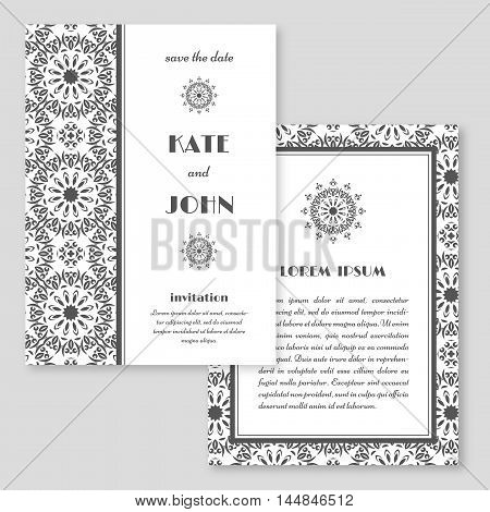 Wedding invitation greeting card with mandala pattern. Save the date cards. Vintage oriental style. Vector illustration.