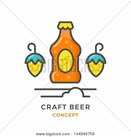 Craft beer concept isolated on white. Vector illustration