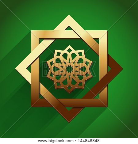 Arabic Islamic design. Gold ornament on a green background. Vector illustration