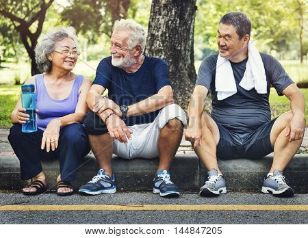 Meet Up Retired Wellbeing Pensioner Workout Concept