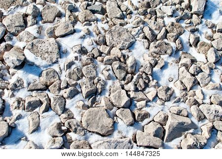 Stones in the snow. Winter. Snow. Cold. Texture.