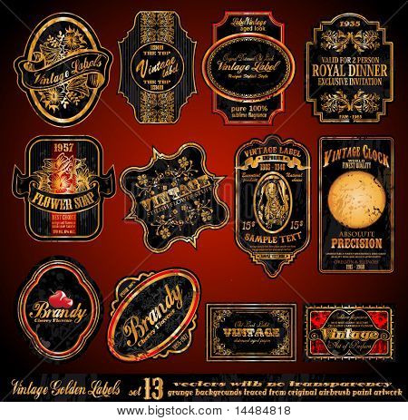 Vintage Labels - 16 Black and Gold Elements with distressed Antique look - Set 13