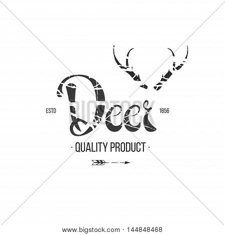 Label in hand-draw style with texture and lettering. Design elements on white background.
