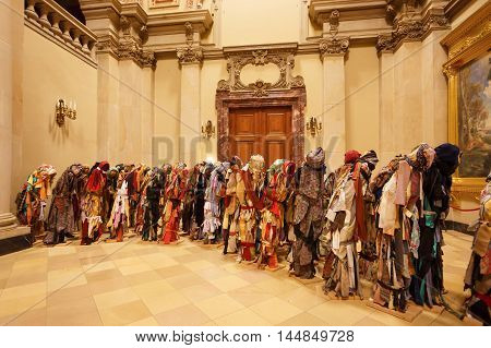 Berlin Germany - August 27 2016: The refugees installation of Helen Escobedo in the Berlin Cathedral during a night of museums