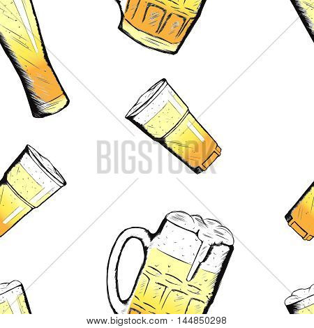 Vector hand drawn sketch style colorful pattern with beer mugs and glasses
