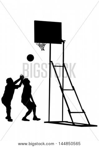 People with ball on white background