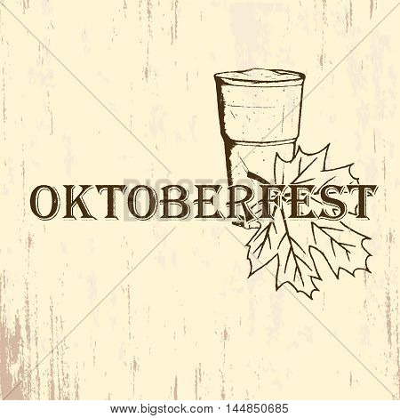 Oktoberfest emblem in hand drawn sketch style on grunge paper texture