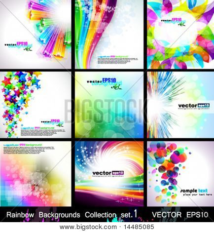 Rainbow Backgrounds Collection - 9 Flyer or brochures with colorful abstract motive - Set 1