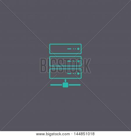 Computer Server Icon, Flat Design