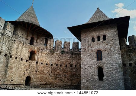 Ruined stone walls of an ancient military citadel. Historical landmark medieval citadel in Soroca Moldova
