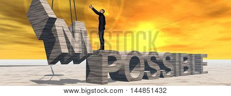 Concept conceptual 3D illustration of business man standing over abstract stone impossible text on sunset sky background banner