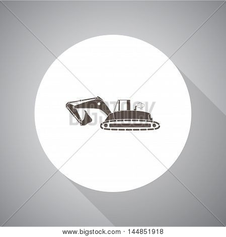 Flat excavator icon. vector icon for web and mobile.