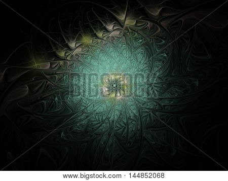 Abstract green flower on dark black background