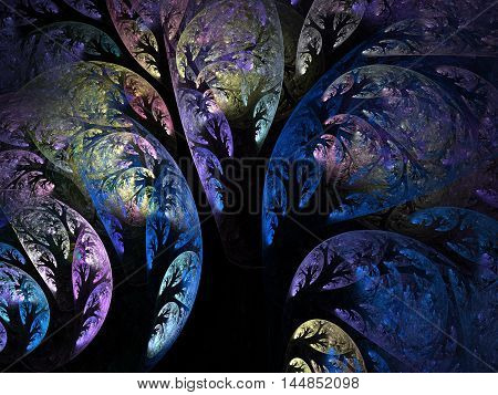 Abstract fractal dark blue trees computer generated image on dark background