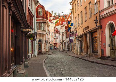 Estonia Tallinn - 7 JUNE 2016: Narrow old street at Old Town (historiacal part of Tallinn)