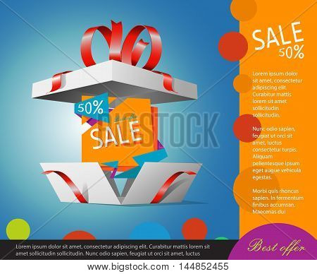 Special offer in a gift box. Gift coupon. Best deals booklet