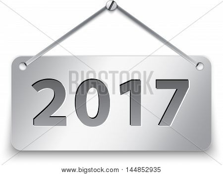 Metallic gray tablet for 2017 year. Vector illustration