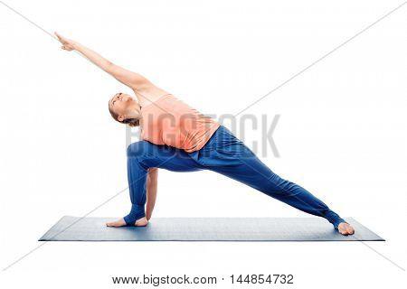 Woman doing Ashtanga Vinyasa Yoga asana Utthita parsvakonasana - extended side angle pose posture advanced variation isolated on white background