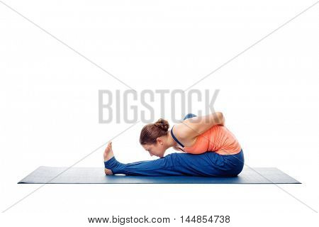 Woman doing Ashtanga Vinyasa Yoga stretching  asana Marichyasana A - pose posture dedicated to sage Marichi on white background
