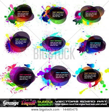 Grunge Bubble Speech Collection with rainbow colours and liquid drops elements - Set 1