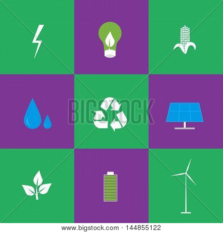 Green energy and recycling vector icons set suitable for info graphics, websites and print media. power and ecological symbols on green and purple background. Eco elements collection.