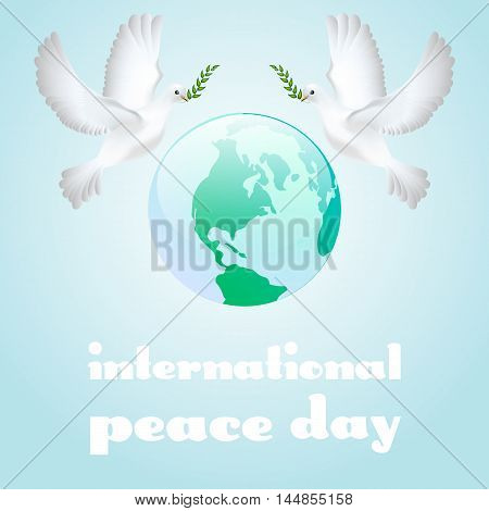 Peace dove with olive branch for International Peace Day poster. Vector illustration.