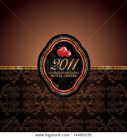 2011 New Year Royal Dinner Invitation Background for Stylish Flyers