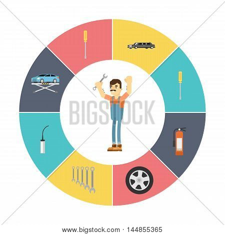 Car repair service infographics icons concept flat vector illustration