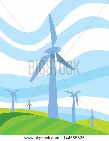 Clean energy vector illustration. Wind turbines in green field on background of blue wavy sky. Windfarm poster. Windmills for electric power production. Eco generation. Renewable resources concept.