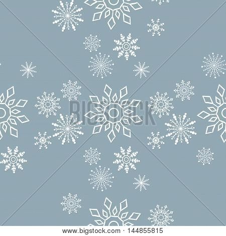 Vector illustration of seamless pattern of snowflakes.