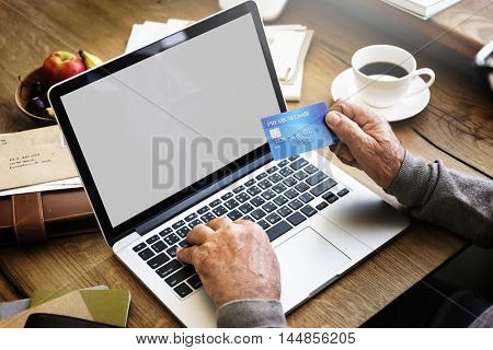 Credit Card Online Shopping Copy Space Mockup Concept