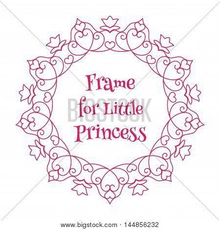 Vector Pink Frame with Hearts for little princess over white background. Frame for your photo image and other children art projects. Easy use and recolor.