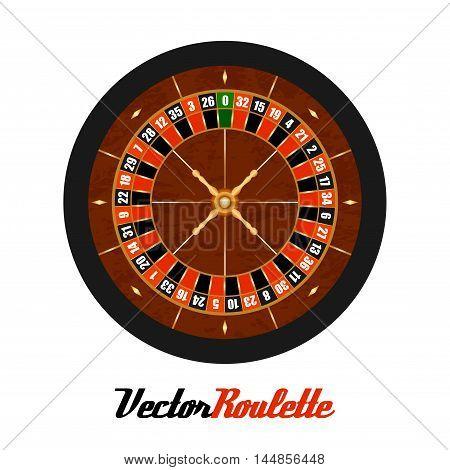 Vector Casino Gambling Roulette Wheel Isolated Over White.