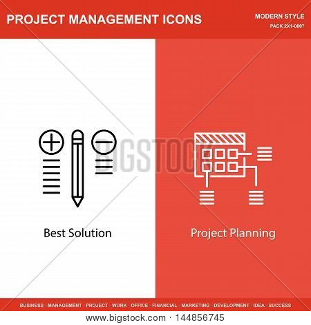 Set Of Project Management Icons On Best Solution And Planning. Project Management Icons Can Be Used