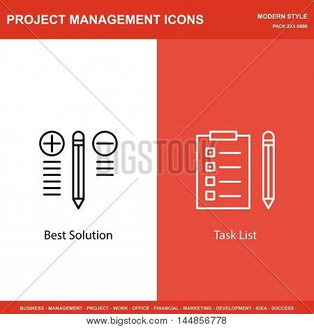 Set Of Project Management Icons On Best Solution And Task List. Project Management Icons Can Be Used