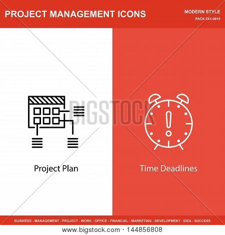 Set Of Project Management Icons On Planning And Deadline. Project Management Icons Can Be Used For W