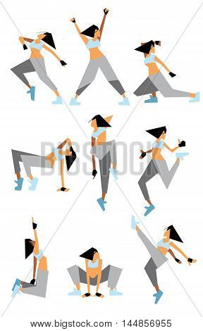 Girl dancing modern dances in different poses isolated on white background vector illustration