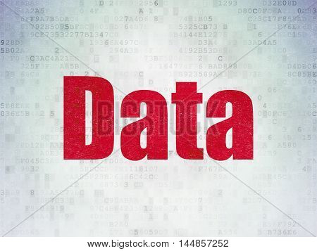 Data concept: Painted red word Data on Digital Data Paper background