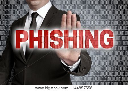 Phishing with matrix is shown by businessman.