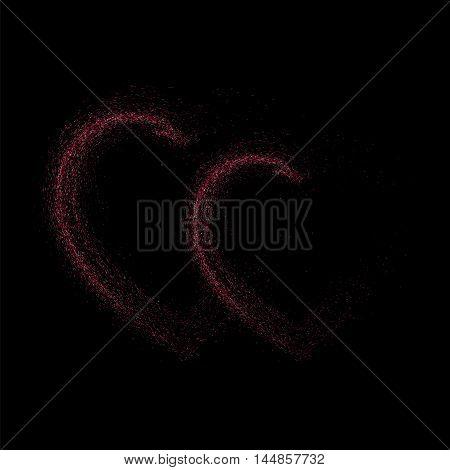 Pink Glitter Heart On  Black Background.
