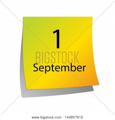 First September in Calendar icon on white background