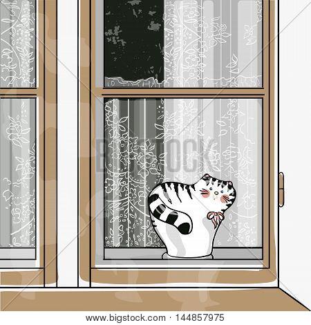 cat on a window sill. vector illustraton