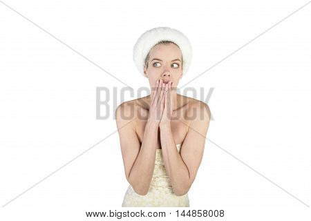 blonde young women facial and body emotions