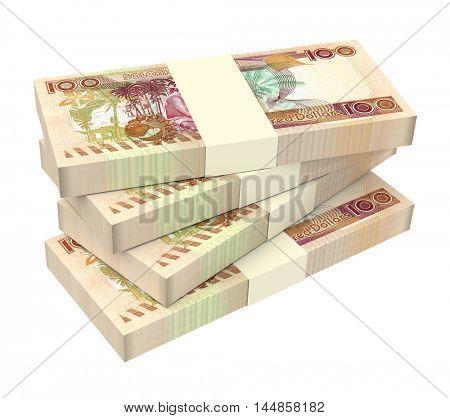 Solomon Islands dollars bills stack isolated on white background. 3D illustration.