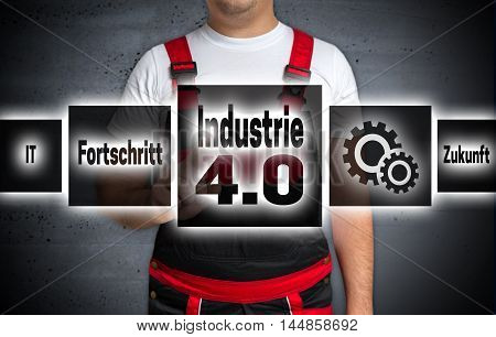 Industrie 4.0 (in German Industry Progress Future) Touchscreen Is Operated By Craftsman