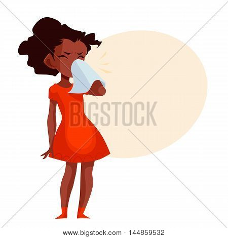 Little african american girl blowing her nose, cartoon style illustration isolated on white background. Beautiful black skinned girl having cold, seasonal flu running nose, feeling unwell
