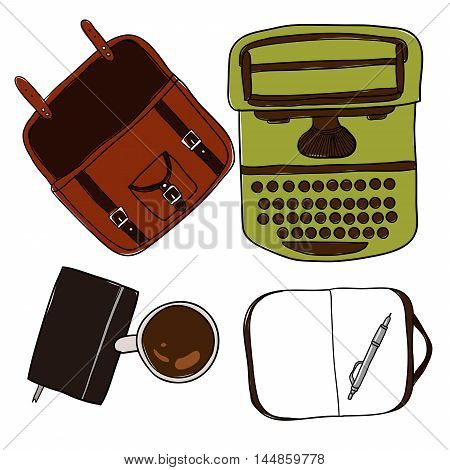 Coffee cup, notebook, pen, typewriter and bag. Mockup, template for design on white background